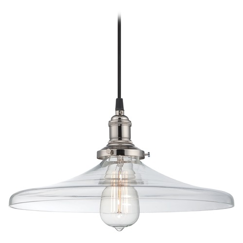 Nuvo Lighting Pendant Light with Clear Glass in Polished Nickel Finish 60/5407