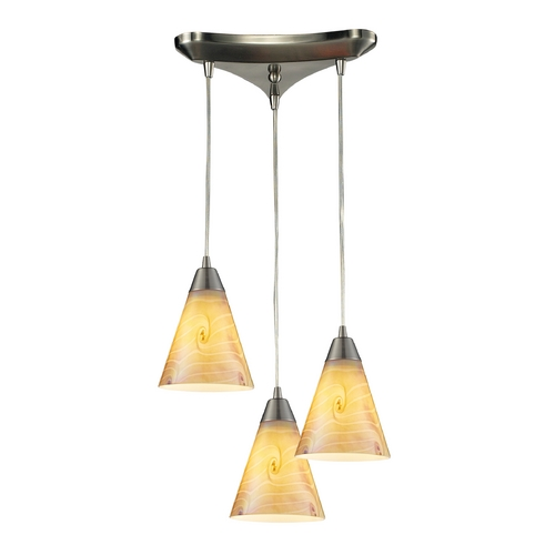 Elk Lighting Multi-Light Pendant Light with Iridescent Glass and 3-Lights 10337/3