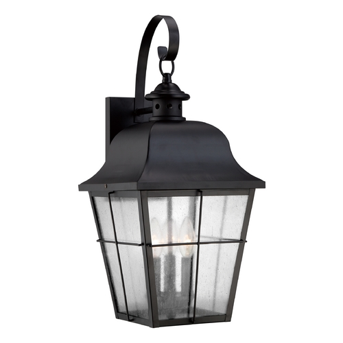Quoizel Lighting Seeded Glass Outdoor Wall Light Black Quoizel Lighting MHE8410K