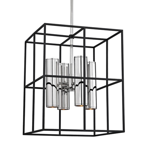 Hudson Valley Lighting Hudson Valley Lighting Lagrange Polished Nickel Pendant Light with Rectangle Shade 4218-PN