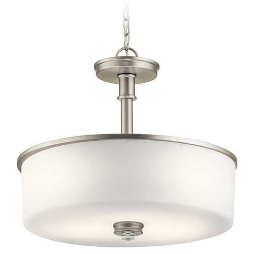 Kichler Lighting Kichler Lighting Joelson Brushed Nickel Pendant Light with Drum Shade 43925NI