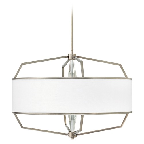 Hinkley Lighting Hinkley Lighting Larchmere English Nickel Pendant Light with Drum Shade 4485EN