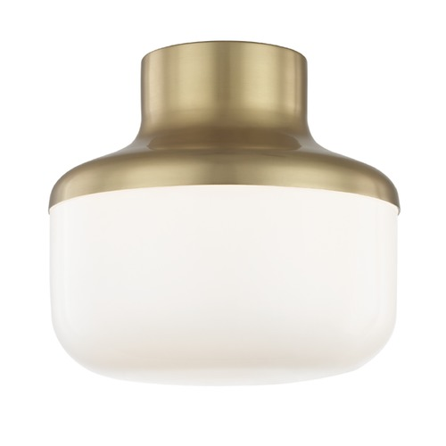 Mitzi by Hudson Valley Industrial Flushmount Light Brass Mitzi Livvy by Hudson Valley H144501S-AGB
