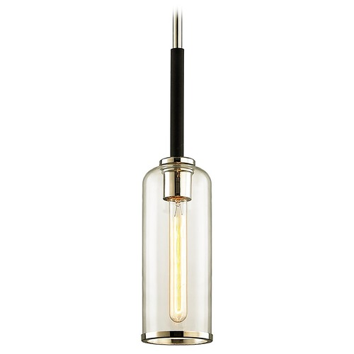Troy Lighting Troy Lighting Aeon Carbide Black with Polished Nickel Mini-Pendant Light with Cylindrical Shade F6273