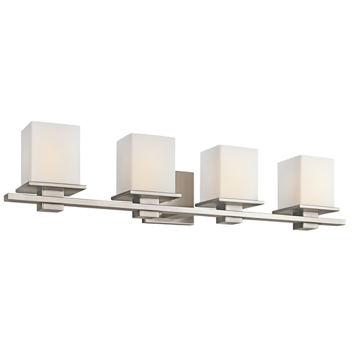 Kichler Lighting Kichler Bathroom Light with White Glass in Antique Pewter Finish 45152AP