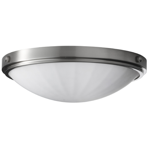 Home Solutions by Feiss Lighting Modern Flushmount Light with White Glass in Brushed Steel Finish FM353BS