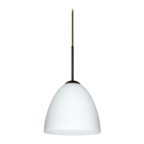 Besa Lighting Modern Pendant Light with White Glass in Bronze Finish 1JT-447007-BR