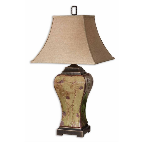 Uttermost Lighting Table Lamp with Beige / Cream Shade in Mossy Green Glaze Finish 26882