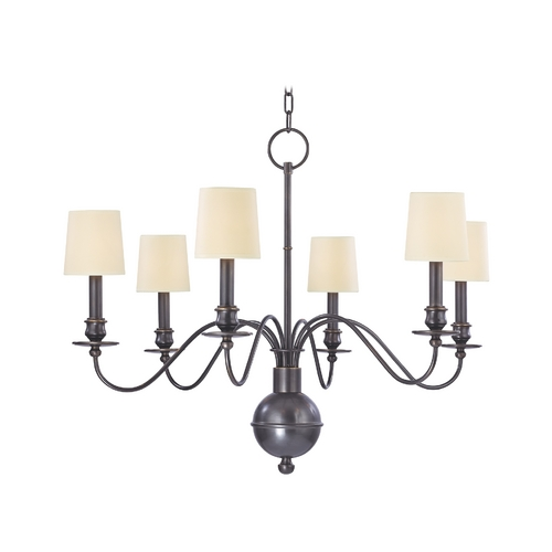 Hudson Valley Lighting Chandelier with White Paper Shades in Old Bronze Finish 8216-OB