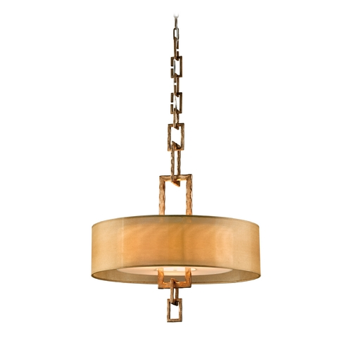 Troy Lighting Drum Pendant Light with Beige / Cream Shade in Bronze Leaf Finish FF2874