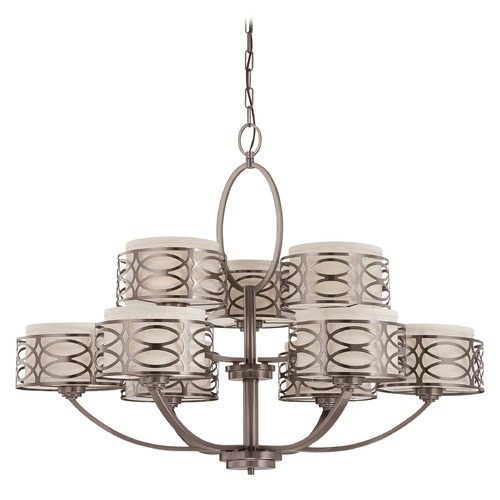 Nuvo Lighting Modern Chandelier with Beige / Cream Shades in Hazel Bronze Finish 60/4730