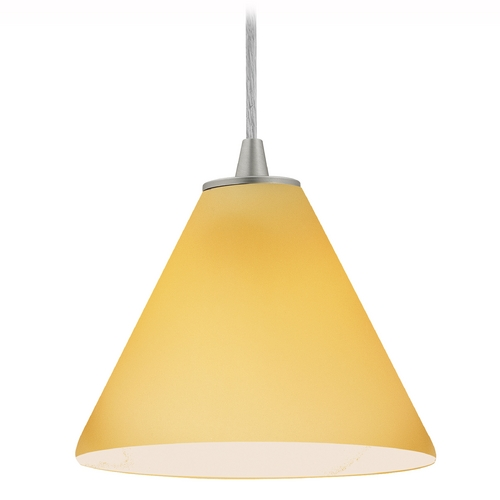 Access Lighting Access Lighting Tali Inari Silk Brushed Steel Mini-Pendant with Conical Shade 28004-2C-BS/AMB