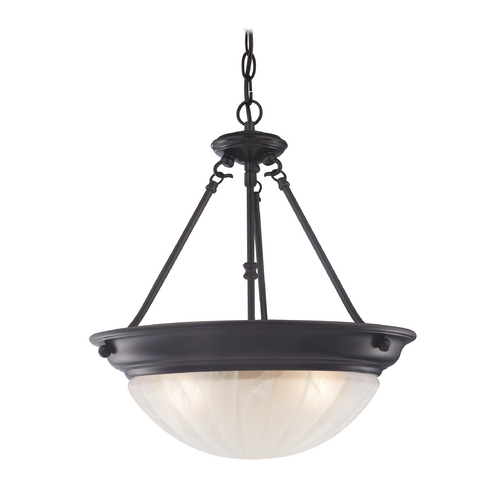 Design Classics Lighting Inverted Bowl Pendant Light in Bronze with Three Lights 566-30