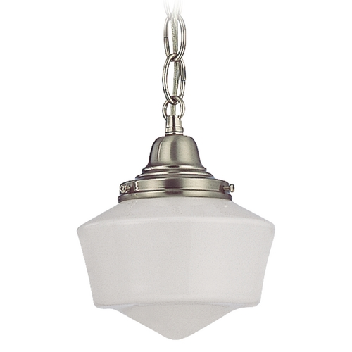 Design Classics Lighting 6-Inch Schoolhouse Mini-Pendant Light with Chain in Satin Nickel FC3-09 / GF6 / B-09