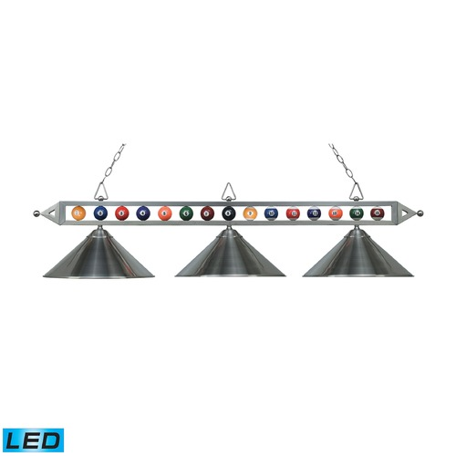 Elk Lighting Elk Lighting Designer Classics Satin Nickel LED Billiard Light with Conical Shade 190-1-SN-M-LED