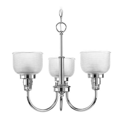 Progress Lighting Farmhouse Chandelier Prismatic Glass Chrome Archie by Progress Lighting P4688-15