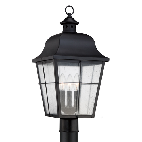 Quoizel Lighting Seeded Glass Post Light Black Quoizel Lighting MHE9010K