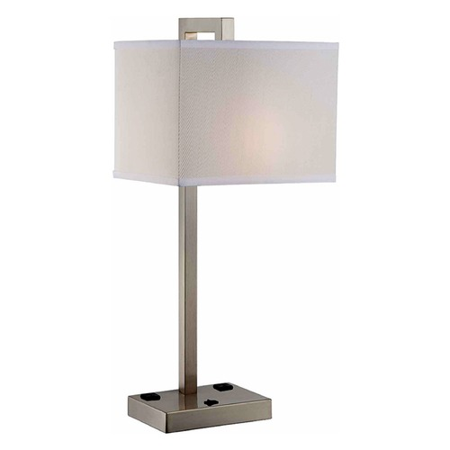Lite Source Lighting Lite Source Contento Polished Steel Table Lamp with Rectangle Shade LS-22283