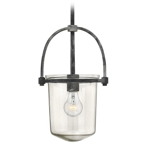 Hinkley Lighting Hinkley Lighting Clancy Aged Zinc Pendant Light with Cylindrical Shade 3031DZ