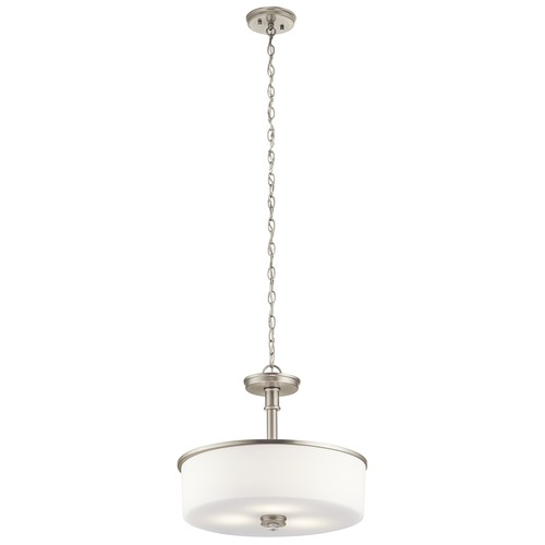 Kichler Lighting Kichler Lighting Joelson Brushed Nickel LED Pendant Light with Drum Shade 43925NIL16