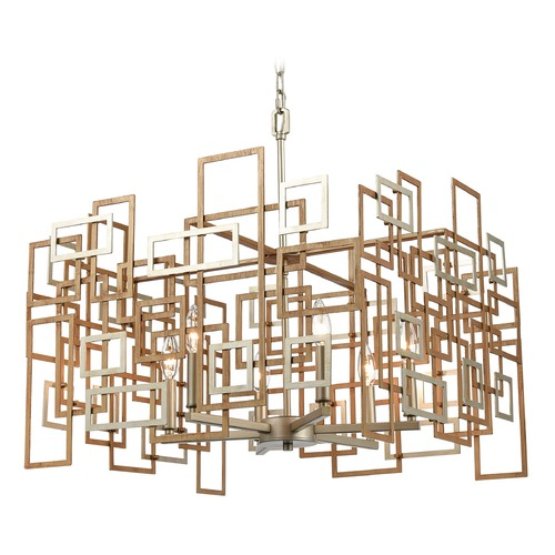 Elk Lighting Elk Lighting Gridlock Matte Gold, Aged Silver Chandelier 12305/6