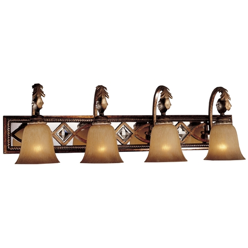 Minka Lavery Bathroom Light with Beige / Cream Glass in Aston Court Bronze Finish 6744-206