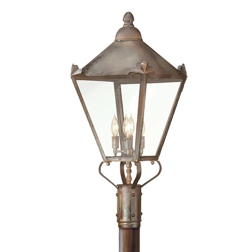Troy Lighting Post Light with Clear Glass in Natural Rust Finish P8947NR