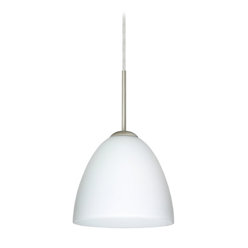 Besa Lighting Modern Pendant Light with White Glass in Satin Nickel Finish 1JT-447007-SN