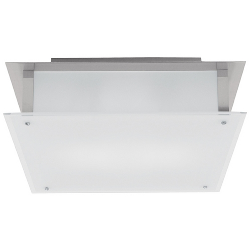 Access Lighting Modern Flushmount Light with White Glass in Brushed Steel Finish 50029-BS/FST