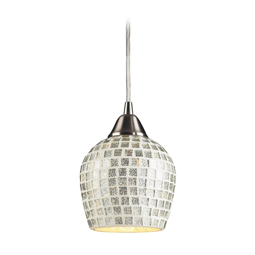 Elk Lighting Modern Mini-Pendant Light with Grey Glass 528-1SLV