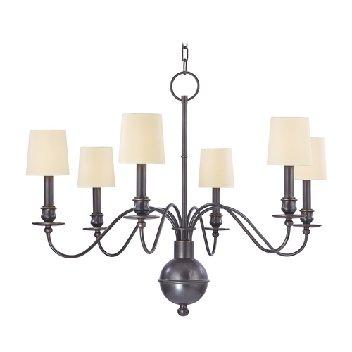 Hudson Valley Lighting Chandelier with Beige / Cream Shades in Old Bronze Finish 8216-OB-WS