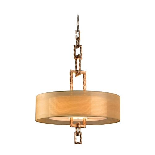 Troy Lighting Drum Pendant Light with Beige / Cream Shades in Bronze Leaf Finish FF2875