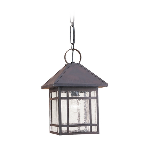 Sea Gull Lighting Outdoor Hanging Light with Clear Glass in Antique Bronze Finish 60010-71