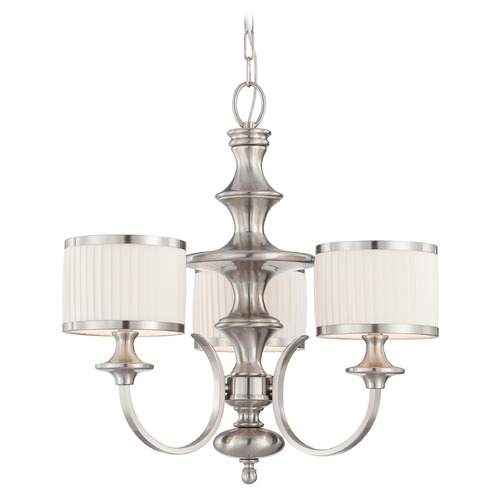 Nuvo Lighting Modern Chandelier with White Shades in Brushed Nickel Finish 60/4734