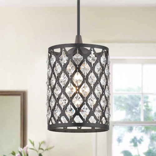 Design Classics Lighting Crystal Bronze & Phoenix Cord Hung Mini-Pendant Light 582-220 GL1046-148