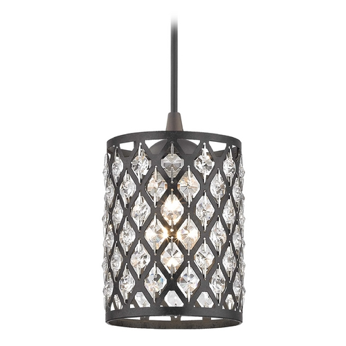 Design Classics Lighting Crystal Neuvelle Bronze & Phoenix Cord Hung Mini-Pendant Light 582-220 GL1046-148