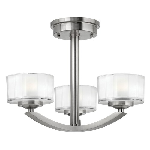 Hinkley Lighting Semi-Flushmount Light with White Glass in Brushed Nickel Finish 3871BN
