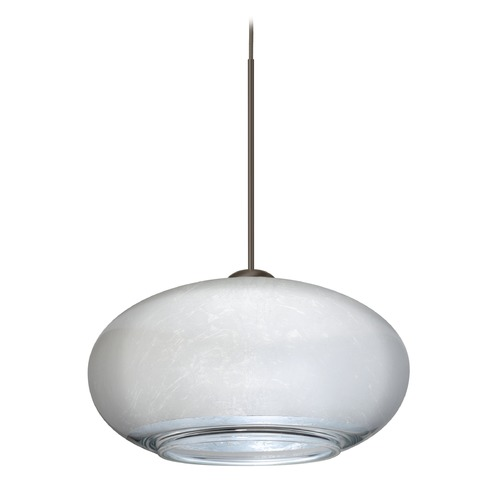 Besa Lighting Besa Lighting Brio Bronze Mini-Pendant Light with Oblong Shade 1XT-2492SF-BR