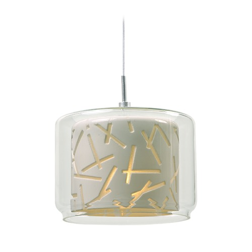 ET2 Lighting Minx Polished Chrome Mini-Pendant Light with Drum Shade E94349-10PC