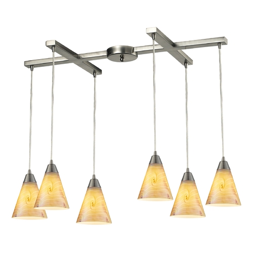 Elk Lighting Multi-Light Pendant Light with Iridescent Glass and 6-Lights 10337/6