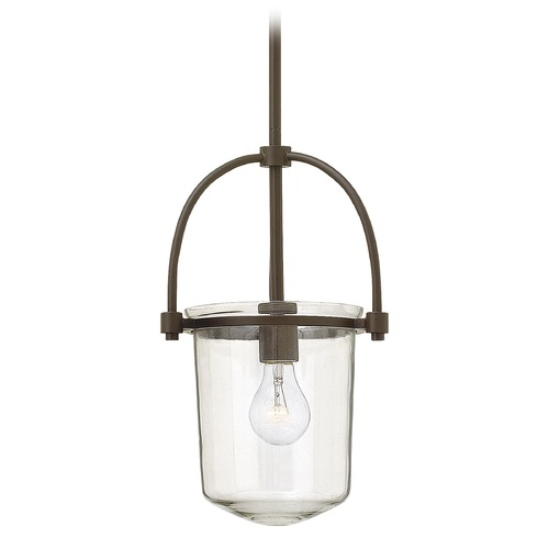Hinkley Lighting Hinkley Lighting Clancy Buckeye Bronze Pendant Light with Cylindrical Shade 3031KZ