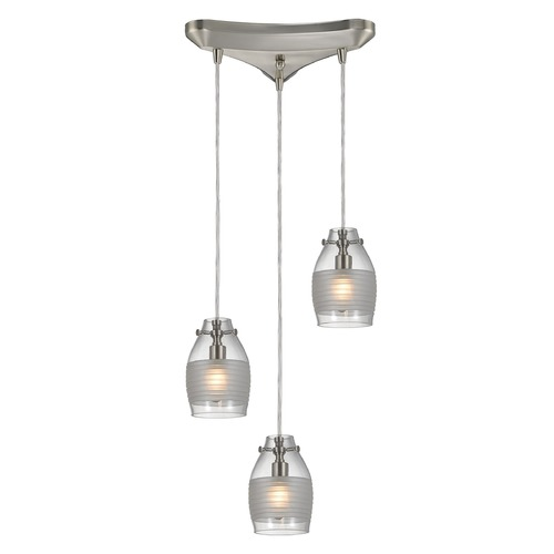 Elk Lighting Elk Lighting Carved Glass Brushed Nickel Multi-Light Pendant with Bowl / Dome Shade 46161/3