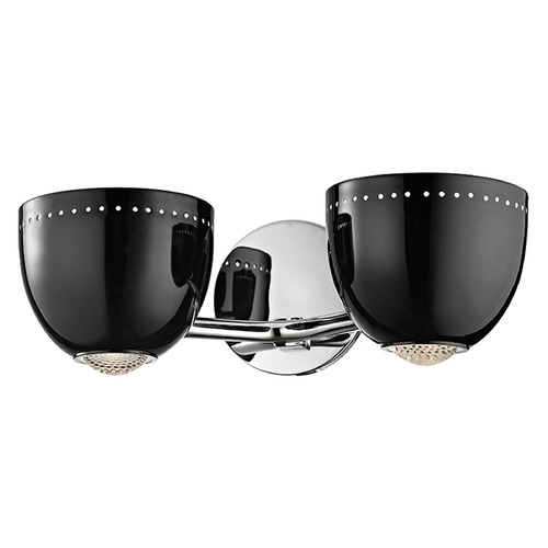 Hudson Valley Lighting Emmett 2 Light Bathroom Light - Black / Polished Chrome 5812-BPC