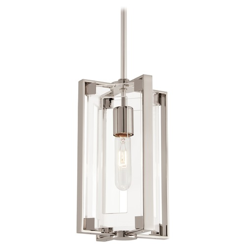 George Kovacs Lighting George Kovacs Cyrstal Clear Polished Nickel Mini-Pendant Light with Rectangle Shade P1401-613