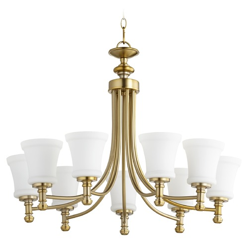 Quorum Lighting Quorum Lighting Rossington Aged Brass Chandelier 6122-9-80