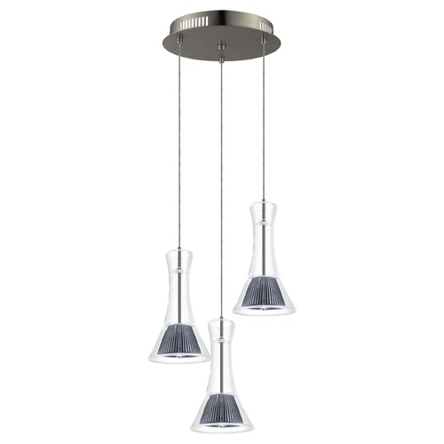 Eglo Lighting Eglo Musero Matte Nickel LED Multi-Light Pendant with Conical Shade 93792A