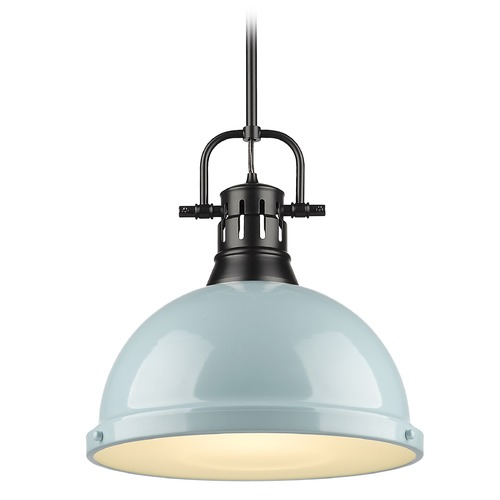 Golden Lighting Golden Lighting Duncan Black Pendant Light with Seafoam Shade 3604-LBLK-SF