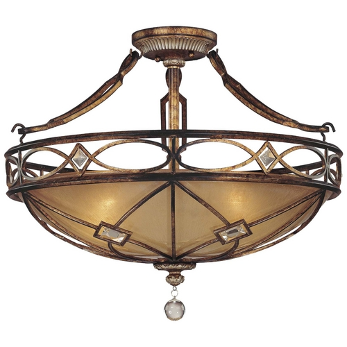 Minka Lavery Semi-Flushmount Light with Beige / Cream Glass in Aston Court Bronze Finish 6757-206