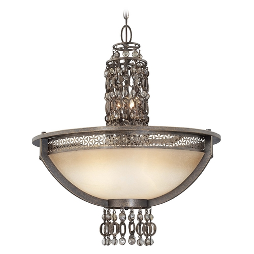 Metropolitan Lighting Chandelier with Beige / Cream Glass in French Bronze Finish N6723-258
