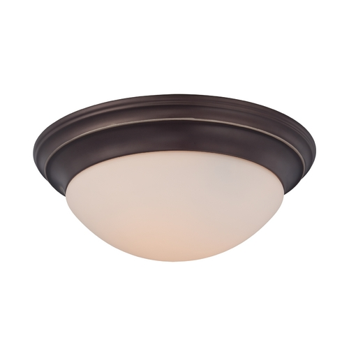 Quoizel Lighting Flushmount Light with White Glass in Palladian Bronze Finish SMT1612PN